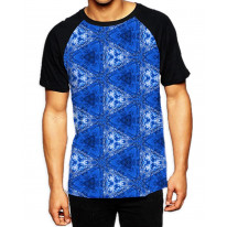 Blue Triangles Pattern Men's All Over Print Graphic Contrast Baseball T Shirt