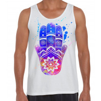 Hamsa Hand of Fatima Colour Splash Large Print Men's Tank Vest Top