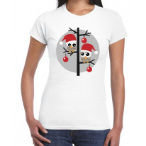 Christmas Owls with Santa Hats Women's T-Shirt
