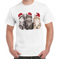 Three Christmas Kittens with Santa Hats Cute Men's T-Shirt