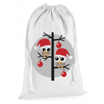 Christmas Owls Santa Claus Presents Stocking Drawstring Santa Sack
