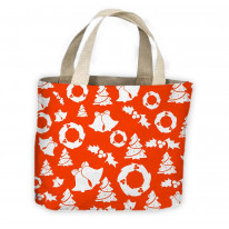 Christmas Bells Holly Tree Pattern Tote Shopping Bag For Life