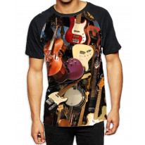 Guitar Strings Collection Band Men's All Over Graphic Contrast Baseball T-Shirt