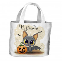 Halloween Bat Cartoon All Over Tote Shopping Bag For Life