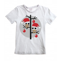 Christmas Owls with Santa Hats Childrens Kids T-Shirt