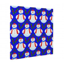 Snowman with Holly Christmas Pattern Box Canvas Print Wall Art (16 x 16)