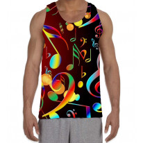 Music Notes Rainbow Men's All Over Graphic Vest Tank Top