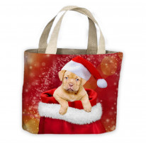 Santa Claus Puppy in Christmas Sack Tote Shopping Bag For Life