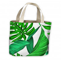 Tropical Leaves Green Pattern All Over Tote Shopping Bag For Life