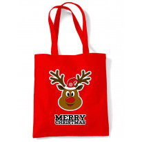 Merry Christmas Rudolph Funny Tote Shoulder Shopping Bag