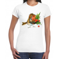 Christmas Robin with Holly Women's T-Shirt