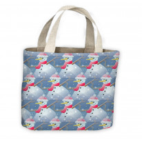 Christmas Snowman Pattern Tote Shopping Bag For Life