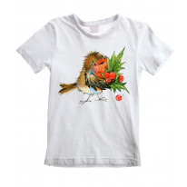 Christmas Robin with Holly Childrens Kids T-Shirt