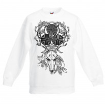 Deer Skull Celtic Spiral Children's Toddler Kids Sweatshirt Jumper