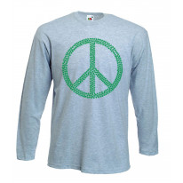 Peace Symbol Marijuana Leaf Long Sleeve T-Shirt