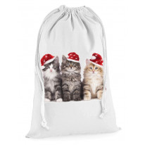 Three Christmas Kittens Presents Stocking Drawstring Santa Sack