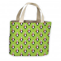 Penguins with Santa Hats Pattern Christmas Tote Shopping Bag For Life