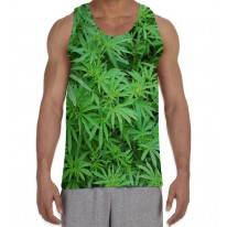 Cannabis Foliage Leafs Men's All Over Graphic Vest Tank Top
