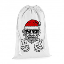 Cool Hipster Santa Christmas Presents Stocking Drawstring Sack