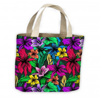 Hibiscus Flowers Pattern All Over Tote Shopping Bag For Life